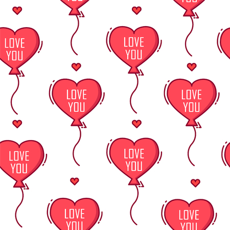 Love pattern with  balloon in the shape of heart on white background. Thin line flat design. Vector banner.