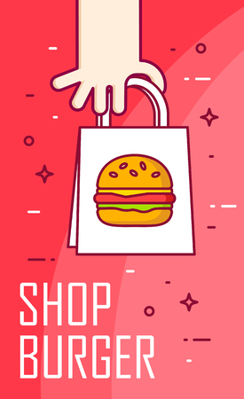 Illustration with hand and burger in the package. Vector banner for fast food delivery. Thin line flat design.