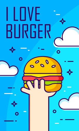 Illustration with hand, clouds and burger on blue background. Thin line flat design card. Vector banner.