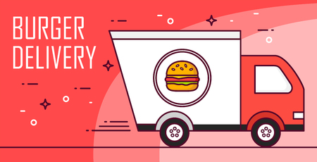 Illustration with car and burger on red background. Vector banner for fast delivery food. Thin line flat design card.