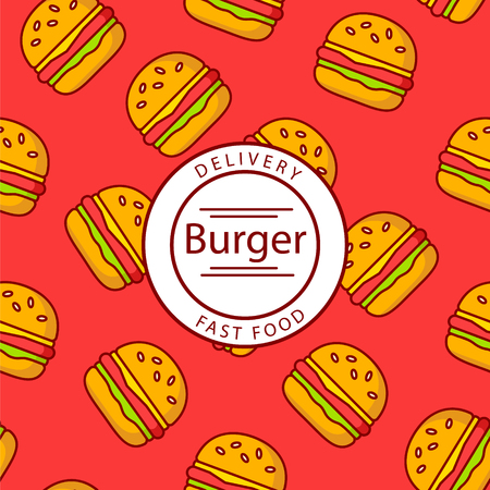 Design of burger packaging for fast food delivery. Thin line flat design. Vector. Illustration