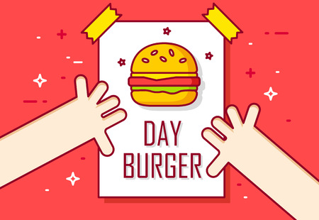 Illustration with hands and calendar page. Burger day. Thin line flat design banner. Illustration