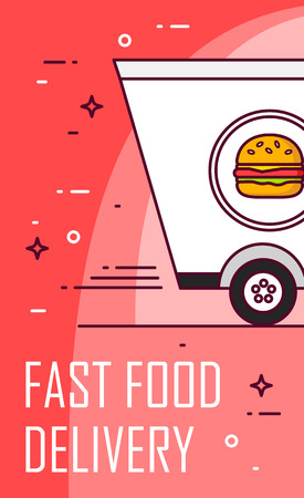 Illustration with car and burger. Vector banner for delivery food. Thin line flat design card. Illustration