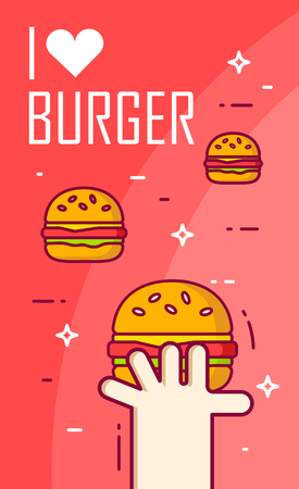 Illustration with hand, heart and burgers on red background. Thin line flat design card. Vector banner.