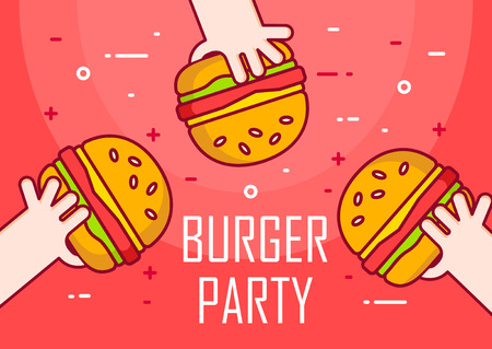 Illustration with hands and burgers on red background. Party day. Thin line flat design banner.