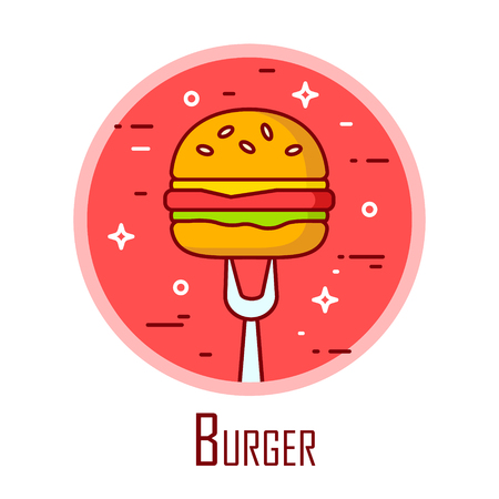 Vector icon with burger and fork in a coloured circle. Vector banner for fast food. Thin line flat design.