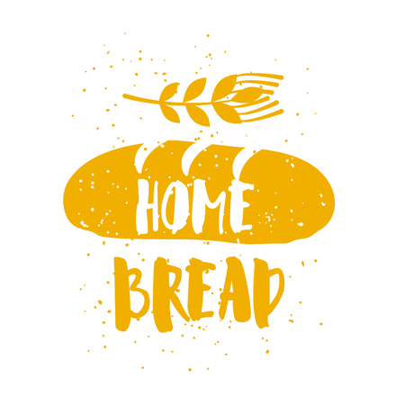 Bakery card with loaf, wheat and lettering text on white background. Vector illustration for greeting cards, decoration, prints and posters. Ilustração