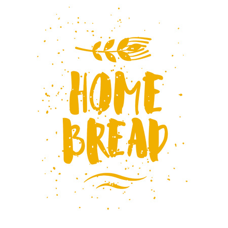 Bakery card with wheat and lettering text Home Bread on white background. Vector illustration for greeting cards, decoration, prints and posters. Banco de Imagens - 116414464