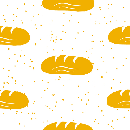 Bakery pattern with loaf on white background. Ornament for textile and wrapping. Vector. Ilustração