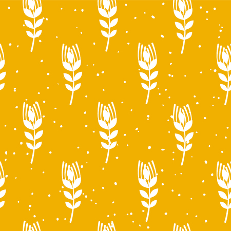Bakery seamless pattern with wheat on yellow background. Ornament for textile and wrapping. Vector.