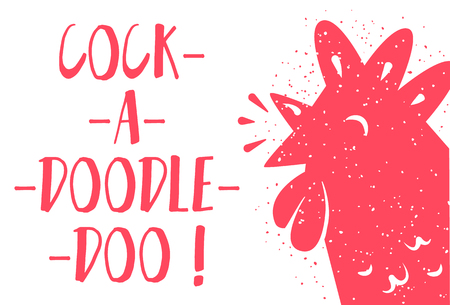 Funny card with red rooster and lettering text Cock-a-doodle-doo on white background. Vector illustration.