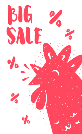 Big sale card with red rooster and lettering text on white background. Vector illustration for greeting cards, decoration, prints and posters.