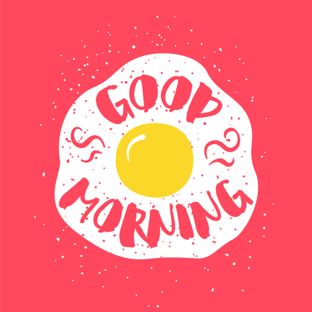 Food card with fried egg and lettering text Good Morning on red background. Vector illustration for greeting cards, decoration, prints and posters.