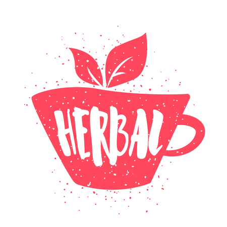 Color label with cup of tee and lettering text Herbal on white background. Vector illustration for greeting cards, decoration, prints and posters.