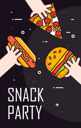 Illustration with hands and snack on black background. Thin line flat design card.