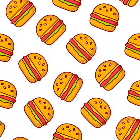 Fast food pattern with burgers on white background. Thin line flat design. Illustration