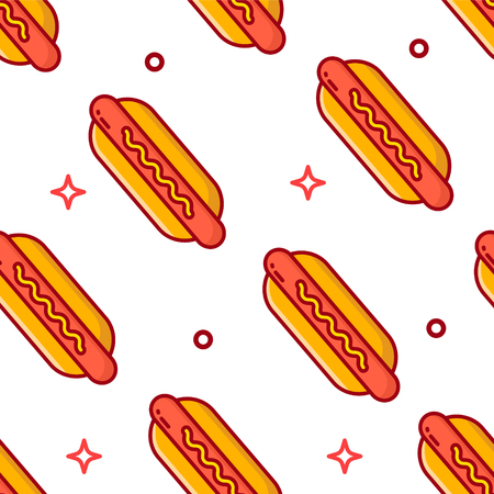 Fast food pattern with hot dog on white background. Thin line flat design. Illustration