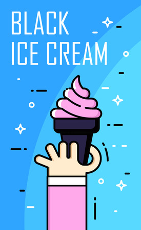 Illustration with hand, black ice cream and text on blue background. Thin line flat design card. Illustration