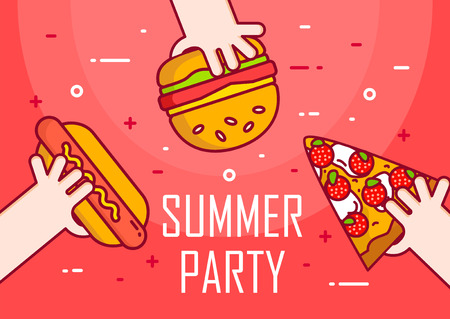 Illustration with hands, hot dog, burger and pizza on red background. Thin line flat design card.