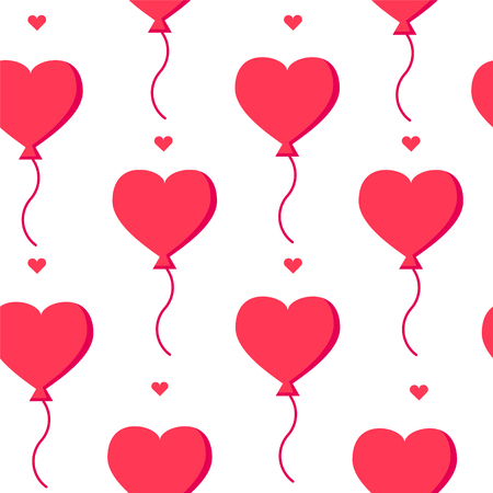 Love pattern with  balloons and hearts on white background. Flat design.