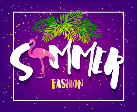Summer fashion banner with flamingo, text and palm leaves on violet background. Flat design. Vector tropical card. Banco de Imagens - 116414385