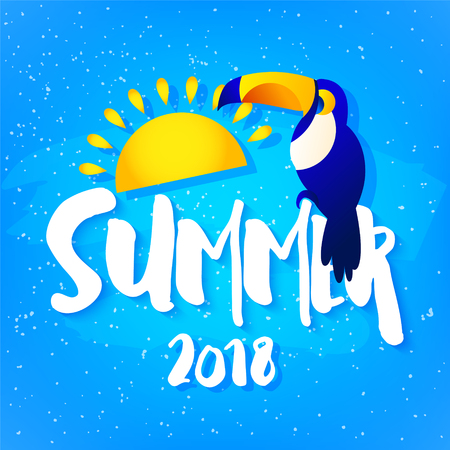 Summer bright card with toucan, sun and text on blue background. Flat design. Vector tropical banner. Illustration