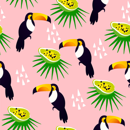 Abstract summer pattern with cute toucan, papaya and palm leaves on pink background. Ornament for textile and wrapping. Vector. Stock Illustratie