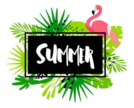 Trendy summer banner with palm leaves, flamingo, tropical plants and text in frame on white background. Flat design. Vector card.