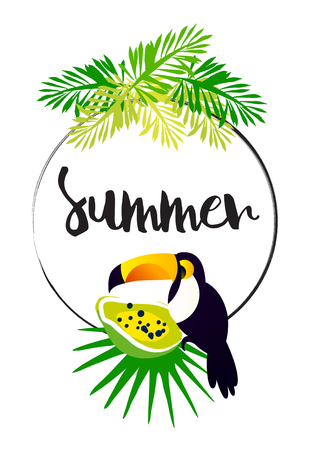 Bright summer card with palm leaves, papaya, toucan, frame and text on white background. Vector tropical banner. Ilustração
