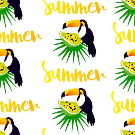 Summer seamless pattern with cute toucan, papaya and palm leaves on white background. Ornament for textile and wrapping. Vector banner. Ilustração
