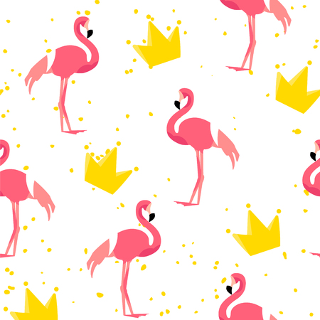 Cute pattern with flamingo and crown on white background. Ornament for textile and wrapping. Vector.