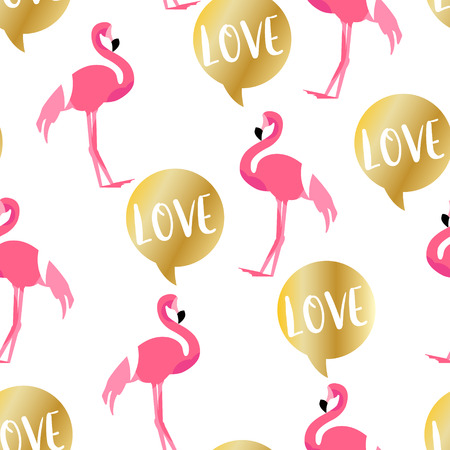 Summer pattern with cute flamingo and golden text cloud on white background. Ornament for textile and wrapping. Vector.