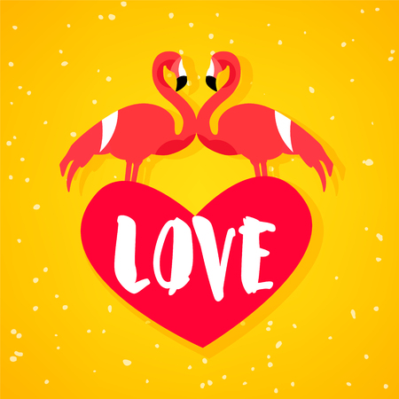 Summer love poster with two flamingo, red heart and text on orange background. Flat design. Vector card for Valentines Day. Illustration