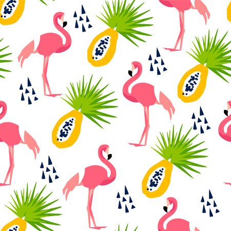 Abstract summer pattern with cute flamingo, papaya and triangles on white background. Ornament for textile and wrapping. Vector.