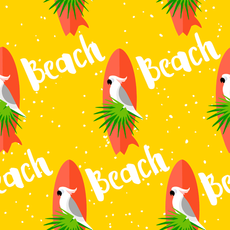Summer seamless pattern with parrot, surfboard, palm leaves and text on yellow background. Flat design. Vector card.