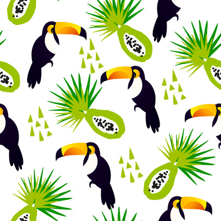 Abstract summer pattern with cute toucan, papaya and triangles on white background. Ornament for textile and wrapping. Vector. Illustration