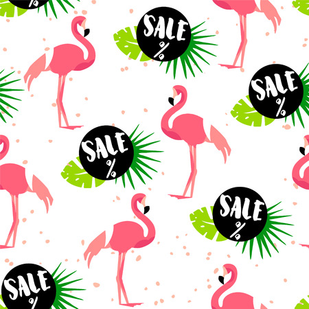 Seamless pattern for summer sale with cute flamingo, palm leaves and text on white background. Ornament for textile and wrapping. Vector.