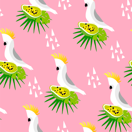 Abstract summer pattern with cute parrot, palm leaves, papaya and triangles on pink background. Ornament for textile and wrapping. Vector.