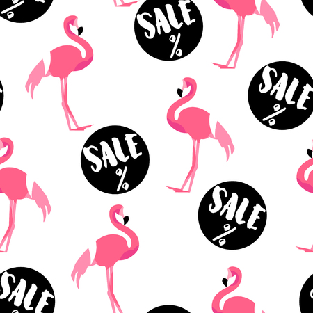 Summer pattern with cute flamingo and sale stickers on white background. Ornament for textile and wrapping. Vector. Illustration