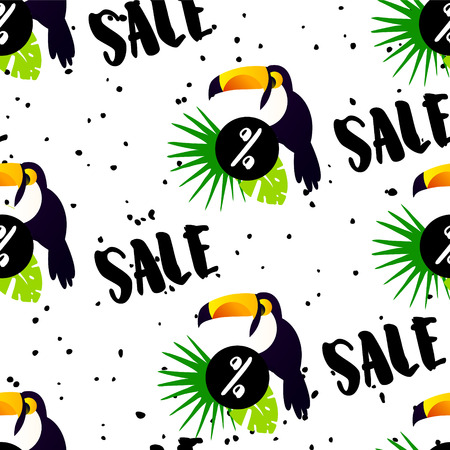 Summer pattern for sale with cute toucan, palm leaves and text on white background. Ornament for textile and wrapping. Vector. Illustration