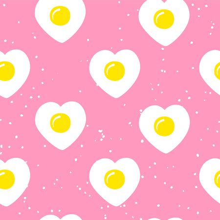 Food pattern with fried egg in the shape of heart on pink background. Ornament for textile and wrapping. Vector. Illustration