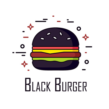 Vector color icon with black burger on white background. Thin line flat design. Banner for fast food.