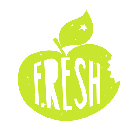 Silhouette of a green apple with lettering text Fresh. Vector color label.
