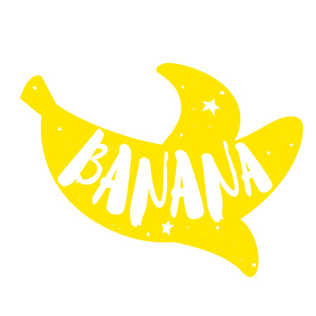 Silhouette of banana with lettering text Fresh. Vector color label.