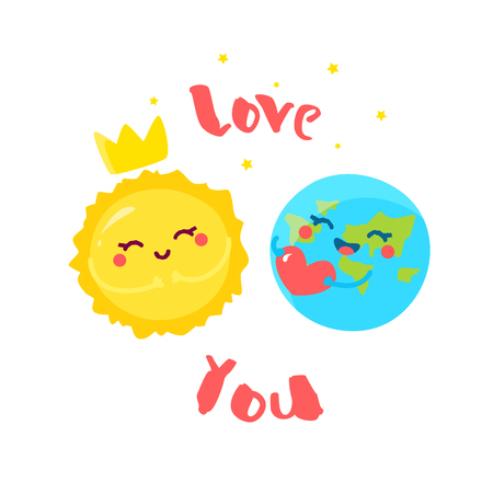 Cute Earth with heart and cartoon Sun on white background. Flat style. Vector illustration. Banco de Imagens - 116414393