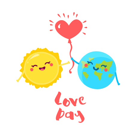 Cute Earth gives a balloon in the form of a heart for the Sun. Flat style. Vector illustration. Illustration