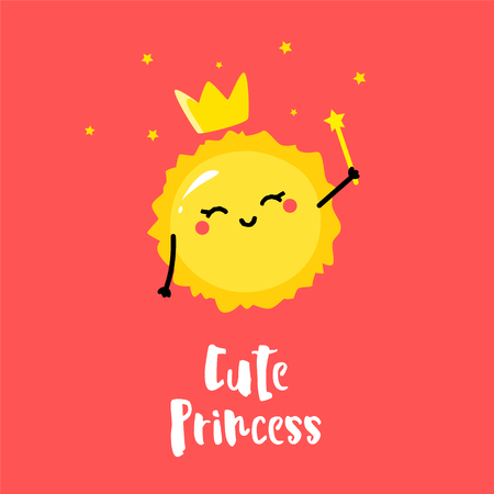 Cute sun princess with a magic wand and crown. Flat style. Vector card.