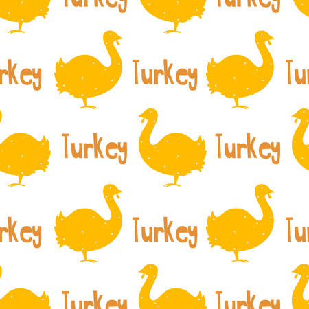 Cute pattern with turkey and text on white background. Ornament for textile and wrapping. Vector.
