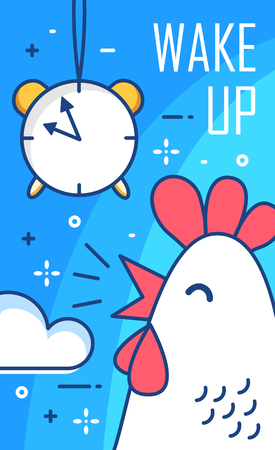 Wake up poster with alarm clock and rooster. Thin line flat design. Vector good morning background. Illustration