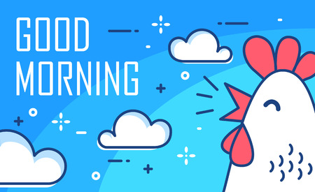 Good Morning poster with clouds and cock on blue background. Thin line flat design. Vector. Ilustração